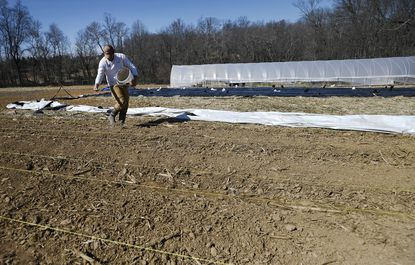 Larson Weinstein applies lime to a vegetable bed at Atlas Farms in Finksburg Monday, March 9, 2020. Atlas Farms is growing fresh, seasonal produce exclusivley for the Atlas Restaurant group.