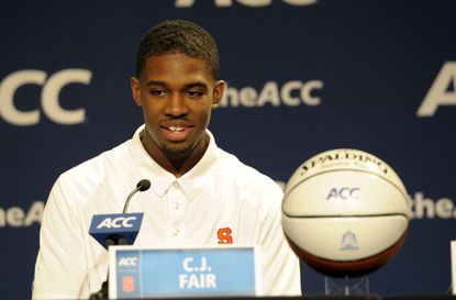 Syracuse forward C.J. Fair speaks to reporters during the ACC's men's basketball media day.