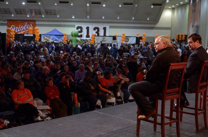 Buck Showalter and Dan Duquette speak at last year's FanFest. Showalter might have a new contract extension by the time this year's event rolls around on Jan. 19.