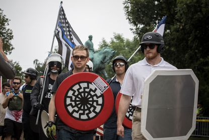 White nationalists rally at Emancipation Park on Aug. 12, 2017, in Charlottesville, Va.