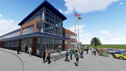 Rendering of design plan for exterior entrance of Lansdowne High School, to be reviewed tonight by the school board.