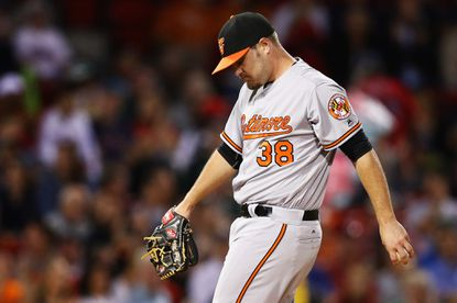 BOSTON, MA - SEPTEMBER 12: Wade Miley #38 of the Baltimore Orioles prepares to pitch against the Boston Red Sox during the first inning at Fenway Park on September 12, 2016 in Boston, Massachusetts. (Photo by Maddie Meyer/Getty Images) ** OUTS - ELSENT, FPG, CM - OUTS * NM, PH, VA if sourced by CT, LA or MoD **