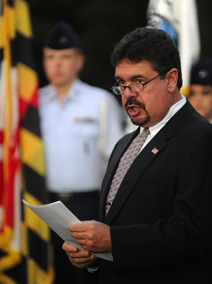 Mount Airy Mayor Patrick Rockinberg speaks during a ceremony at the Pine Grove Chapel in Mt. Airy Tuesday in honor of Commander Ronald Vauk and Chief Warrant Officer William Ruth, who were killed in the attack on the Pentagon on Sept. 11, 2001.
