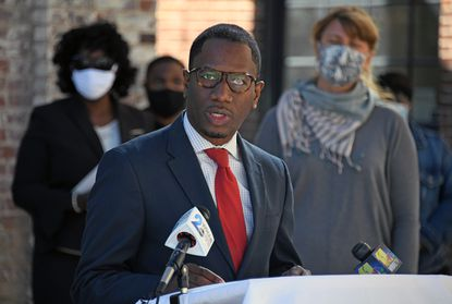 Reginald Davis, Strong City Baltimore Interim CEO, holds news conference to talk about the organization's missteps and to better provide financial and support services to non-profit organizations. September 21, 2020.