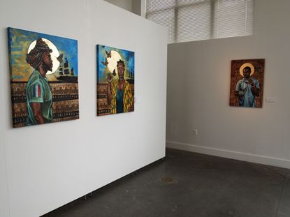 Stephen Towns' colorful portraits at Gallery CA look cheery at first, but the subjects seem to be wistfully contemplating something just out of reach.