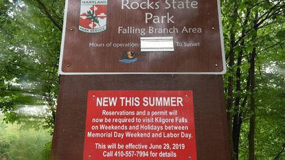 Newly posted signs at the Kilgore Falls parking area explains a new policy that went info affect last weekend.