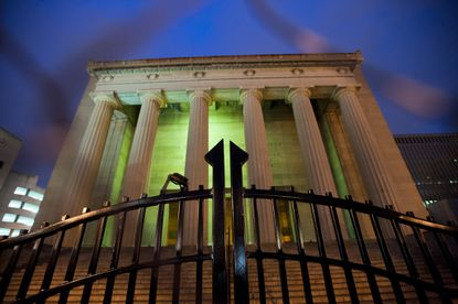 The front entrance of the War Memorial as a $450,000 black steel fence begins to enclose it, to prevent homeless people from sleeping there at night.