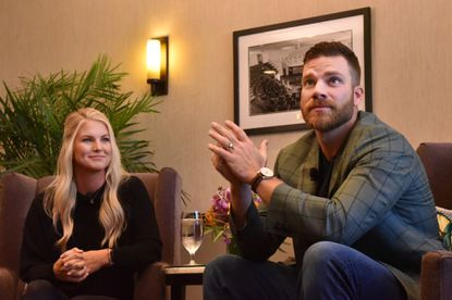 Orioles first baseman Chris Davis, with his wife Jill, in 2019 announce a $3 million gift for an expansion of the University of Maryland Children's Hospital at the University of Maryland Medical Center. Nov. 4, 2019. (Amy Davis/Baltimore Sun).