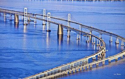 An aerial view of the Chesapeake Bay Bridge near Sandy Point. File.