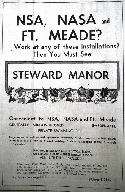 A 1960 advertisement in the News Leader targeted Fort Meade and NASA employees.