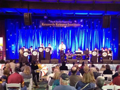 The JoeyDCares Rock Orchestra performing at last year¿s Kennedy Krieger Festival of Trees in November 2012.