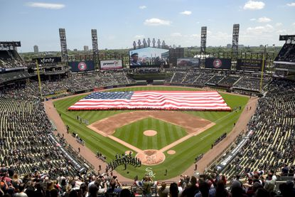 FILE - In this July 4, 2019, file photo, an American Flag is unfurled in the outfield during the playing of the National Anthem before the start a baseball game between the Chicago White Sox and the Detroit Tigers in Chicago. Major League Baseball owners last year gave the go-ahead on a plan that envisioned expanding the designated hitter to the National League for 2020. (AP Photo/Mark Black, File)