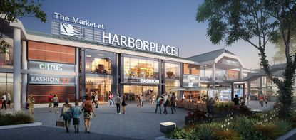 """A proposed rendering of Harborplace's Pratt Street Pavilion<a href=""""http://www.baltimoresun.com/business/bs-bz-harborplace-20151001-story.html"""" target=""""_blank"""">presented October 1 to the city</a> by owners Ashkenazy Acquisition Corp. and the MG2 architecture firm. Design of the proposed signage is still in the works."""