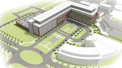 A rendering of the proposed new inpatient building at Johns Hopkins Bayview Medical Center, part of a $469 million expansion and modernization of the East Baltimore hospital.