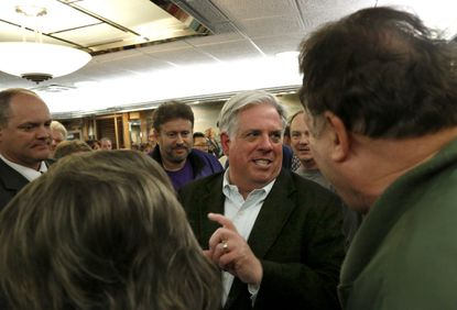 Governor-elect Larry Hogan thanks voters at Dundalk Boulevard Diner during his Thank-Your Tour on Thursday. Cassidy Johnson/Baltimore Sun