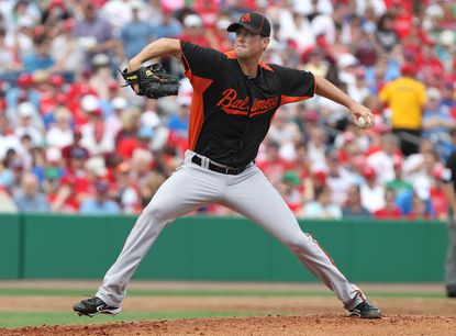 Orioles left-hander Brian Matusz pitches against the Phillies in the first. He threw four scoreless innings, allowing three hits and no walks while striking out four.