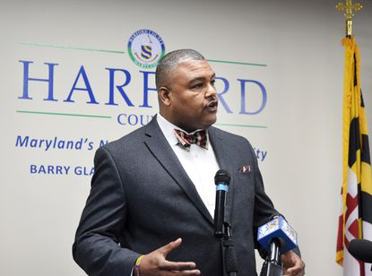 Harford County Public Schools Coordinator of Safety and Security Donoven Brooks takes a few moments at the podium at the Harford County Office Building to answer questions about school security in this 2018 file photo.
