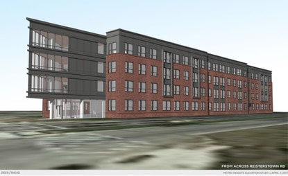 A rendering of a four-story building at Reisterstown Road and Liberty Heights, for a 70-unit apartment building in Mondawmin.