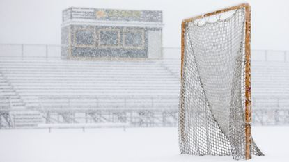 Snow falls at Wilde Lake High School in Columbia on Wednesday, March 21, 2018. Inclement weather forced Howard County schools to close Wednesday, wiping out what would have been the first day of games for spring sports. Games later in the week may also be moved.