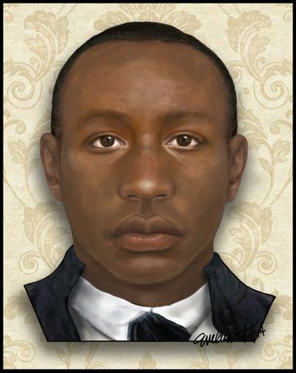 """Baltimore County Detective Evelyn Grant, a forensic artist, used skull bones and artifacts found on a farm in southern Maryland to create a """"facial reconstruction"""" and body sketch of a young man, dubbed """"Lazarus,"""" who may have been an African slave in the late 1700s."""
