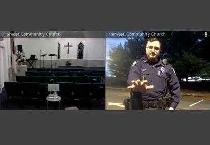 Bel Air Police Officer Matthew Gullion, who is also the pastor of Harvest Community Church, is under internal investigation by the department after he wore his uniform while preaching in three separate videos, including this one posted April 10, on the church's Facebook page. Legal experts say he may have violated the establishment clause of the constitution while doing so. This is him in Rockfield park after responding to a call, with the church's live stream on the left?