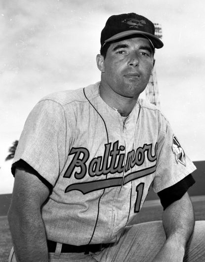 In this March 1964, file photo, Orioles catcher John Orsino poses for a photo. Orsino, who spent seven seasons in the major leagues with the Giants (1961-62), Baltimore (1963-65) and Washington (1966-67), has died. He was 78.