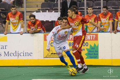 Onua Obasi had two three-point goals in the Blast's victory over the Rochester Lancers on Saturday.