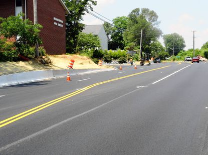 Construction continues along Route 155 in Havre de Grace, where the State Highway Administration has been installing a center turn lane between Graceview Drive and Bayview Drive.