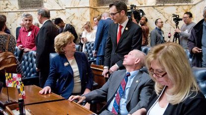 Carroll County representatives, from left Del. Susan Krebs, Sen. Justin Ready, Del. Haven Shoemaker, and Del. April Rose gather at the opening day of the General Assembly in Annapolis.