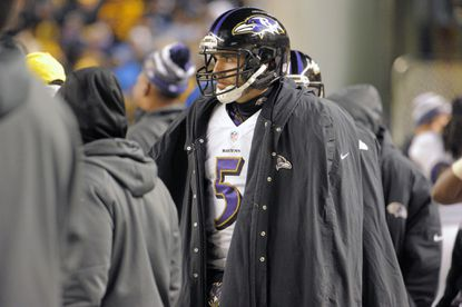 Ravens quarterback Joe Flacco stands on the sideline during the fourth quarter of the team's loss to the Steelers at Heinz Field last Sunday. He and the Ravens will have to limit their turnovers today against Tennessee.