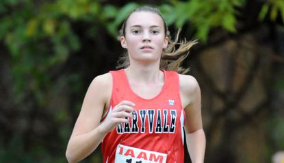 Maryvale's Emily Craig won the 2015 IAAM girls cross country championship at Stevenson. Here she is shown placing second in 2014.
