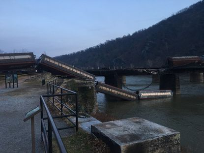 A train derailed from a bridge over the Potomac River at Harpers Ferry the morning of Dec. 21, according to the National Park Service.