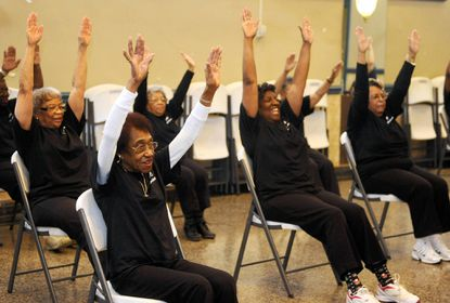 """Shirley Daley, front left, participates in the """"Praisercise"""" exercise class at Calvary Baptist Church."""
