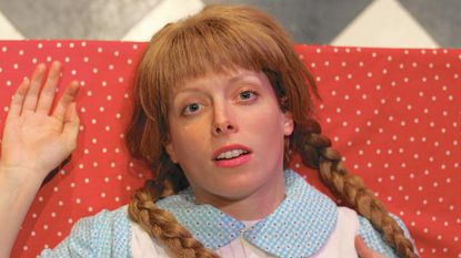 Carly J. Bales plays the titular Mary Hartman, a suburban housewife who seeks refuge from the tribulations of her life in freeze-dried instant coffee, a toilet-cleaning schedule, and Reader's Digest.