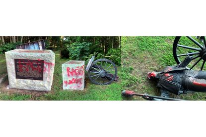 A confederate statue at Mt. Calvary Anglican Church in Lothian was torn down overnight and vandalized with red spray paint, Anne Arundel County police said Friday.