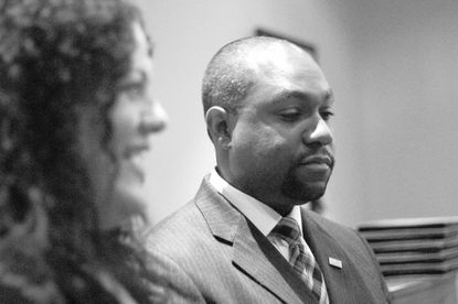 At a private party in Columbia Thursday, Opel Jones, a Democrat, announces his intention to run for the Howard County County in 2018 alongside his wife.