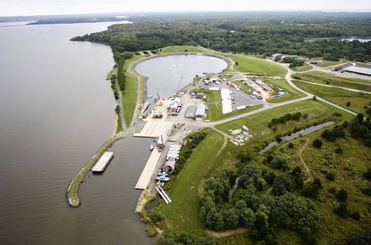 """An aerial view supplied by the Army of Aberdeen Proving Ground's UNDEX Testing Facility, commonly known as the """"Super Pond,"""" where two divers died Tuesday, the Army said. Another diver died on Jan. 30."""