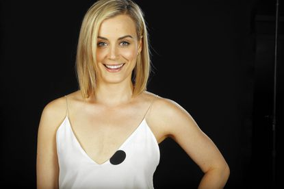 "Taylor Schilling, star of ""Orange Is the New Black,"" says she doesn't eat a restrictive diet but does try to keep things balanced."