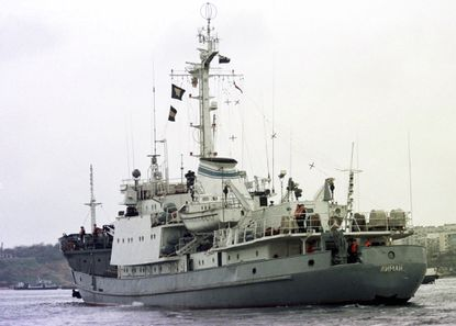 Russian Navy reconnaissance frigate Liman leaves from the Black Sea fleet's base at Sevastopol, Crimean peninsula on April 2, 1999. Russia's Defense Ministry reported that the Liman has collided with another ship on April 27, 2017.
