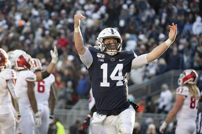 Penn State quarterback Sean Clifford celebrates a touchdown against Indiana. The past three meetings between Penn State and Ohio State have been decided by five points total, including two one-point victories by the Buckeyes.