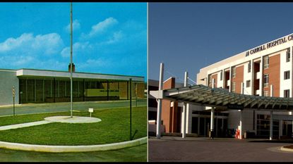 Carroll Hospital then and now. On the left is an undated post card of the entrance of Carroll County General Hospital (now Carroll Hospital) in 1961. And on the right is how it appeared on March 9, 2009.