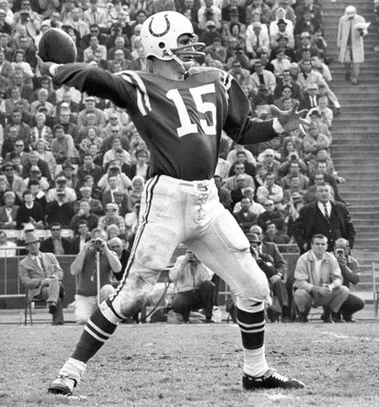 FILE - This Dec. 15, 1968 photo provided by NFL Photos shows Baltimore Colts quarterback Earl Morrall (15) throwing a pass during the Colts 28-24 victory over the Los Angeles Rams in Los Angeles, California. (AP Photo/NFL Photos)