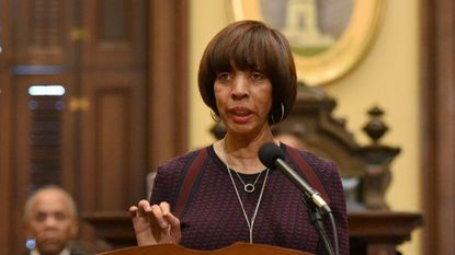 Baltimore, MD-3/12/18 - Mayor Catherine Pugh delivers the State of the City Address in the City Hall council chambers. Amy Davis/ Baltimore Sun Staff Photographer - #25627