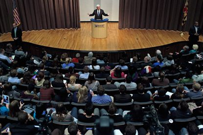 Former House Speaker Newt Gingrich addresses a campaign town hall-style meeting at the Hodson Auditorium on the campus of Hood College in Frederick.