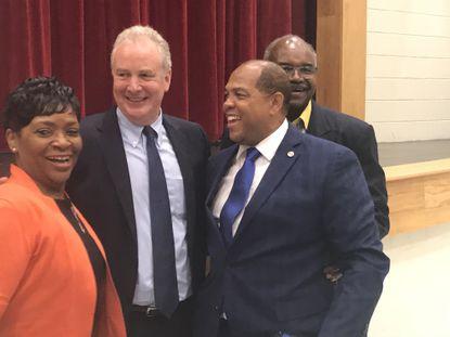 Sen. Chris Van Hollen, second from the left, poses with Speaker of the Maryland House of Representatives Adrienne Jones, Baltimore County Councilman Julian Jones and Maryland Del. Benjamin Brooks in Randallstown.