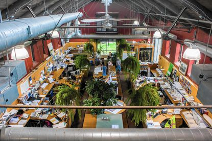 The interior of the offices of Biohabitats, seen during the second annual event Open Doors Baltimore on Saturday, Oct. 24th. The offices are in a former horse barn.