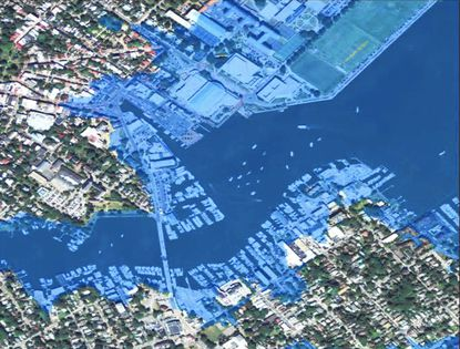 A map shows parts of Annapolis that could be under water in the next century due to sea level rise.