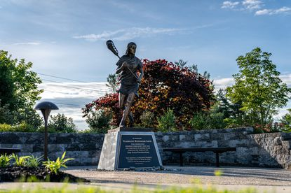 A statue of the late Notre Dame Prep and Virginia lacrosse player Yeardley Love sits on the campus of U.S. Lacrosse's headquarters in Sparks.