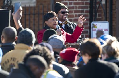 Speaker of the House Adrienne Jones addresses the crowd at a rally in support of court ordered funding of historically black colleges and universities, or HBCUs, in Annapolis in November.