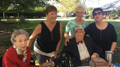 Rosette and Larry Boarman, seated, with Ruth Beltz, Margaret Leishear and Jennie Gait.